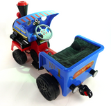 Ride on Kids Electric 12v Battery Powered Play Train Engine and Pedal Coal Truck - Blue