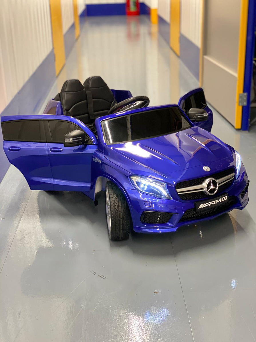 Licensed Mercedes AMG GLA45 12V Kids Ride On Car With High Doors - Metallic Blue