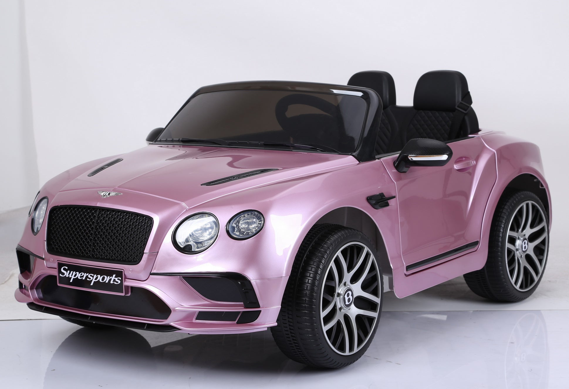 Licensed Bentley Continental Sports Two Seats 12v Kids Ride On Car with Remote - Metallic Pink