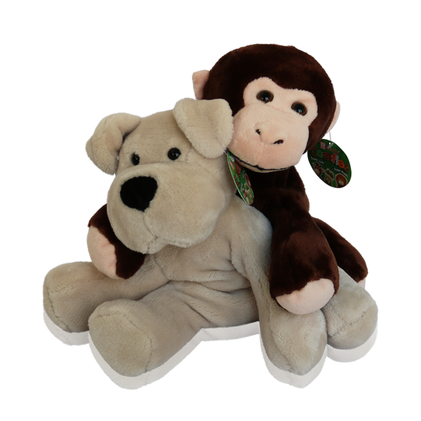 Cuddly Stuffed Animal Gift Set - Dog and Monkey