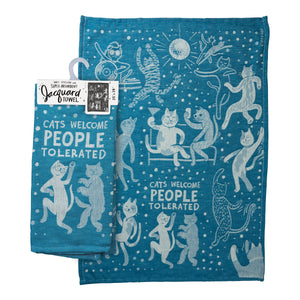 Dish Towel - Cats Welcome, People Tolerated - The Flying Owl