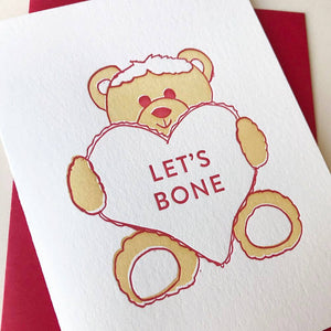 Bear Lets Bone Valentine's Day Card - The Flying Owl