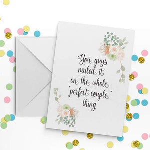 You Guys Nailed It On the Whole Perfect Couple Thing Card - The Flying Owl