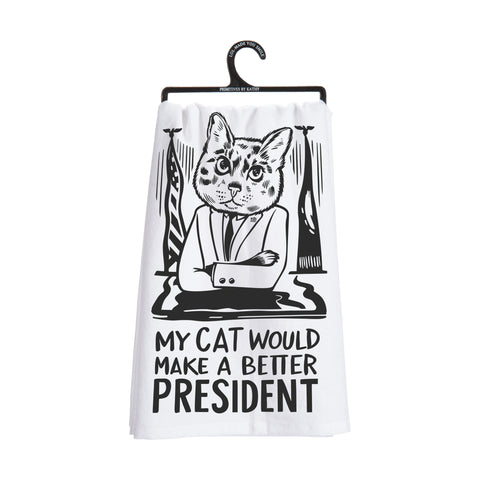 Dish Towel - My Cat / President - The Flying Owl
