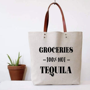 Tote Bag - Groceries, Not Tequila - The Flying Owl