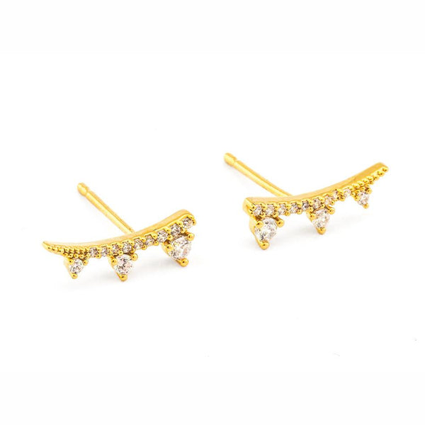 Earrings - 3 Stone Climber - Gold