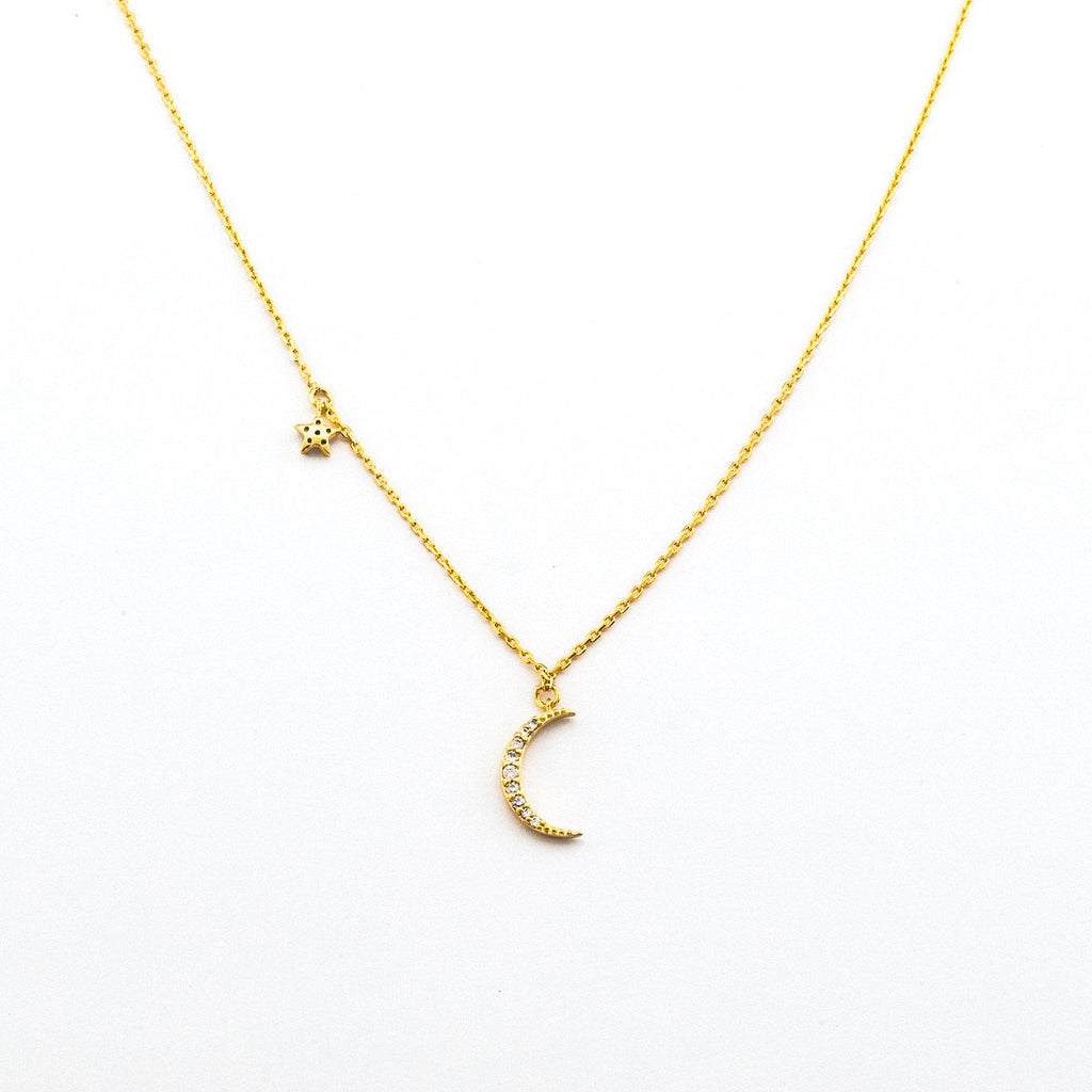 Necklace - Silver Crescent Moon - The Flying Owl