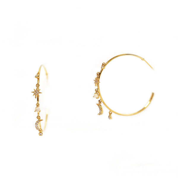 Earrings - Hoops With Celestial Charms