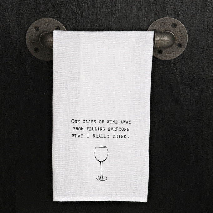 Dish Towel - One Glass Away - The Flying Owl
