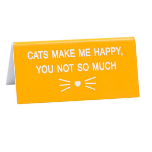 Deskplate - Cats Make Me Happy - The Flying Owl