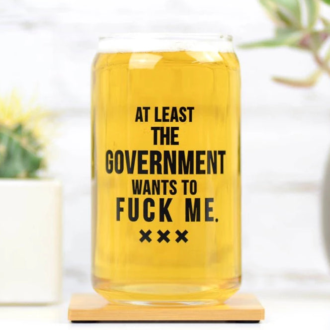Pint Glass - At Least The Government - The Flying Owl