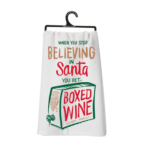 Dish Towel - Stop Believing in Santa, You Get Boxed Wine - The Flying Owl