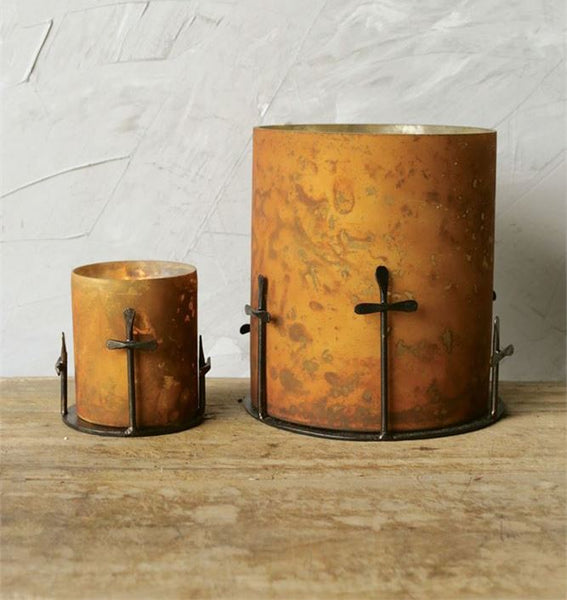 Cross and Antique Copper Candle Holder