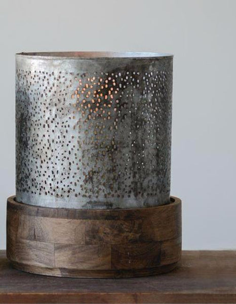 Candle Holder - Metal Hurricane w/ Mango Wood Base