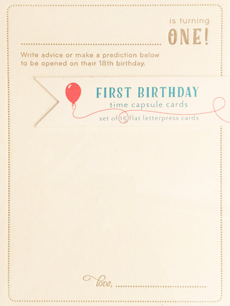 First Birthday Time Capsule Cards