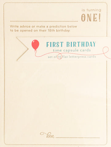 Boxed Notecards - First Birthday Time Capsule Cards
