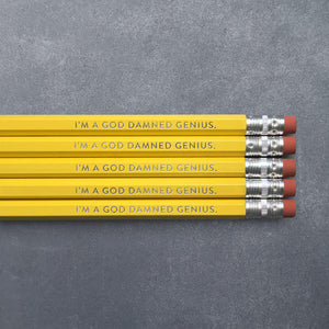 Pencil Set - I'm a God Damned Genius - The Flying Owl