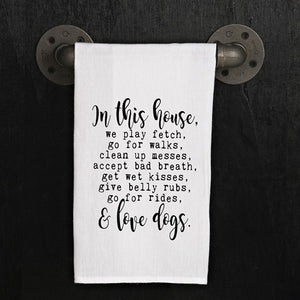 Dish Towel - We Love Dogs - The Flying Owl