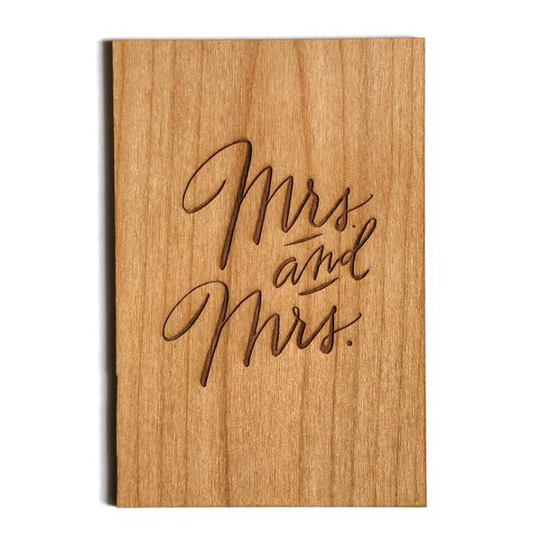 Wooden Card - Mrs. and Mrs. - The Flying Owl