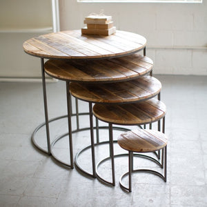 Furniture - Wood and Iron Round Tables - The Flying Owl