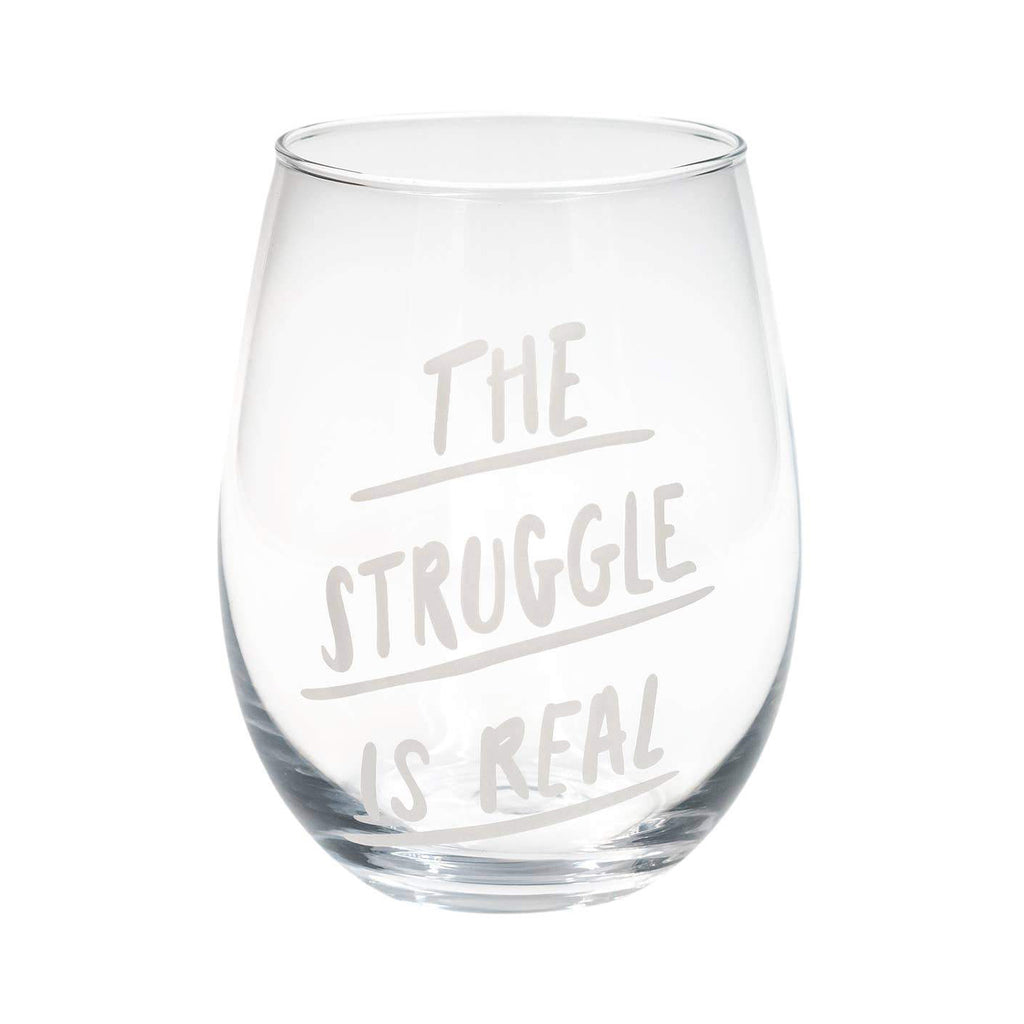 Wine Glass - The Struggle Is Real - The Flying Owl