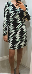 black-with-a-green-white-pattern-dress-by-anonyme