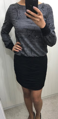 SMASH Grey Dress with Black Ruche Skirt