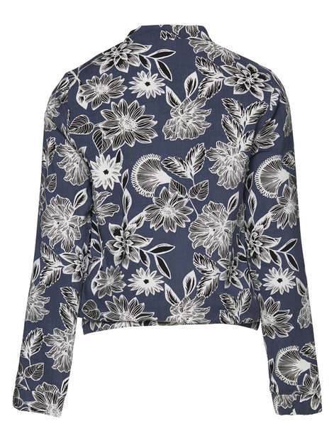 Blue with Floral Pattern Bomber Jacket  by ICHI - SWALK Fashion