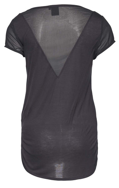Grey T-Shirt with Sheer Panels by ICHI - SWALK Fashion