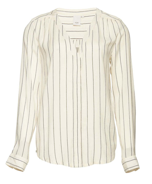 Cream with Grey and White Striped Shirt by ICHI - SWALK Fashion