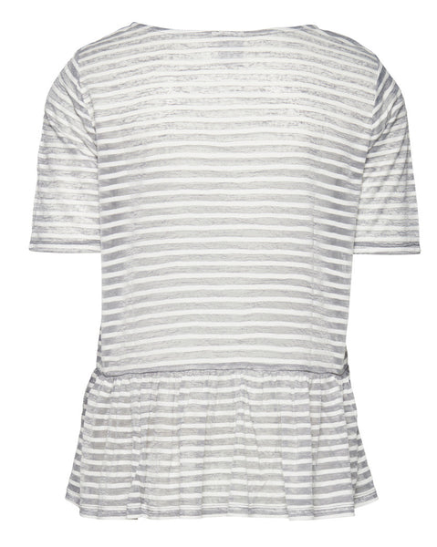 Grey & White Sheer Striped Top with Frill Hem by ICHI - SWALK Fashion