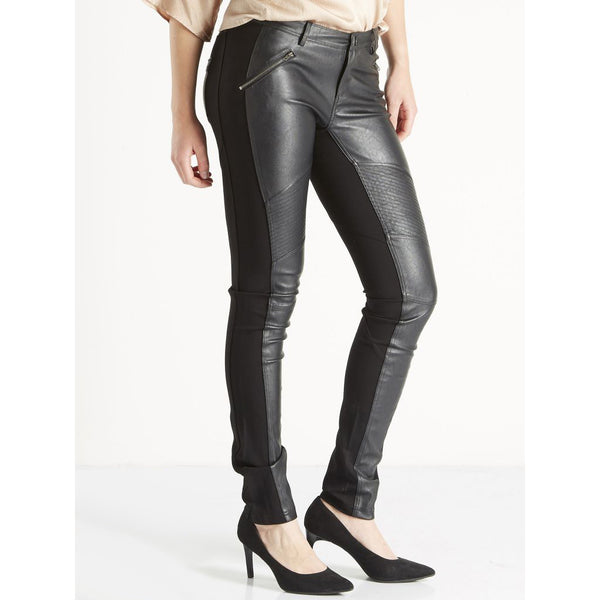 Black Leather Effect Trousers by NU DENMARK - SWALK Fashion