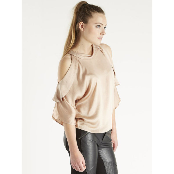 Peach Silk Cold Shoulder Top by NU DENMARK - SWALK Fashion