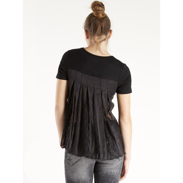 Black T-Shirt with Back Pleat Detail by NU DENMARK - SWALK Fashion