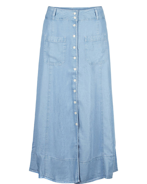 Blue Tencel Skirt with Front Buttons by NUMPH - SWALK Fashion