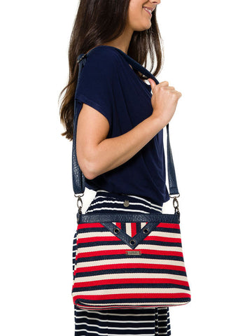 Blue, Red and White Striped Shoulder Bag by SMASH - SWALK Fashion