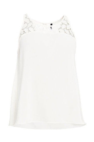 White Cami Top with Lace Neck Detail by SMASH