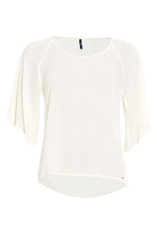White Flared Sleeve Blouse by SMASH