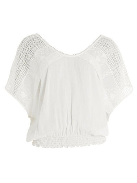 White Top with Shoulder Lace Detail by SMASH - SWALK Fashion
