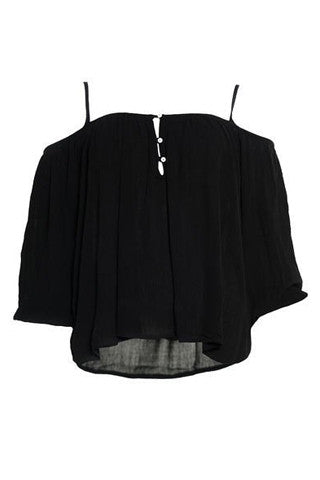 Black Filaris Cold Shoulder Blouse by SMASH - SWALK Fashion