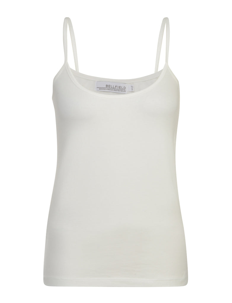 White Basic Strappy Top by BELLFIELD