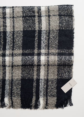 Dark Blue, Grey & White Malise Check Scarf By ICHI - SWALK Fashion