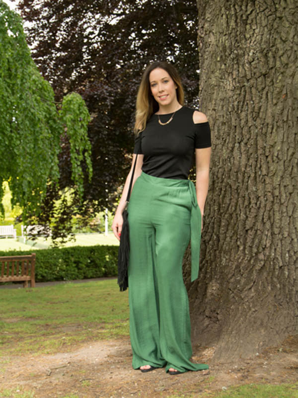 Green Wide Leg Trousers with Tie Detail Waist by SILVIAN HEACH - SWALK Fashion