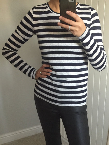 Navy and White Patterned Striped Top by BELLFIELD - SWALK Fashion