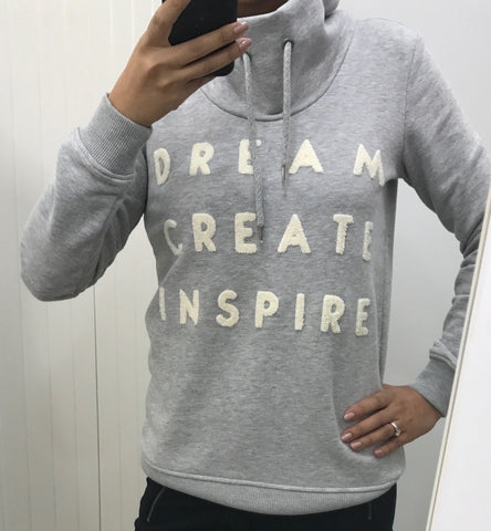 Grey 'Dream, Create, Inspire' Funnel Neck Sweater by SOYACONCEPT - SWALK Fashion
