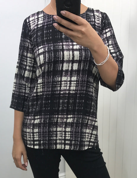Plum Check Print 3/4 Sleeve Top by SOYACONCEPT - SWALK Fashion