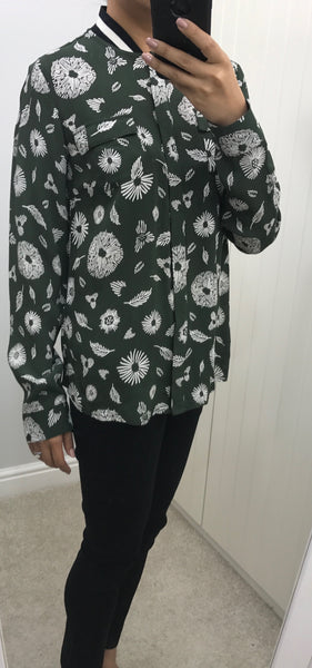 Green with White Floral Blouse with Ribbed Striped Neckline by NUMPH - SWALK Fashion