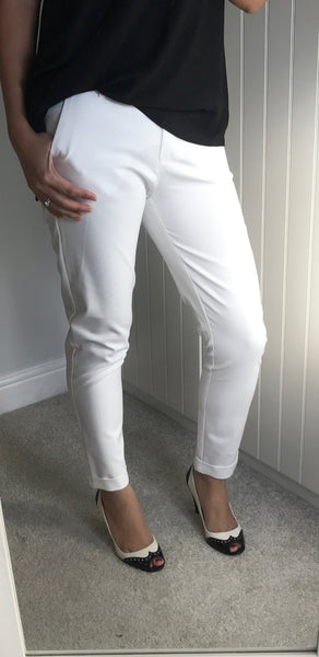 White Cropped Slim Fit Trousers by MOUTAKI