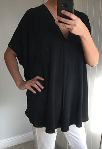Black Oversize V-Neck Top with Dipped Hem by MOUTAKI - SWALK Fashion