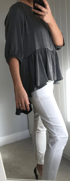 Dark Metallic Grey Top with Frill Dipped Hem by MOUTAKI - SWALK Fashion